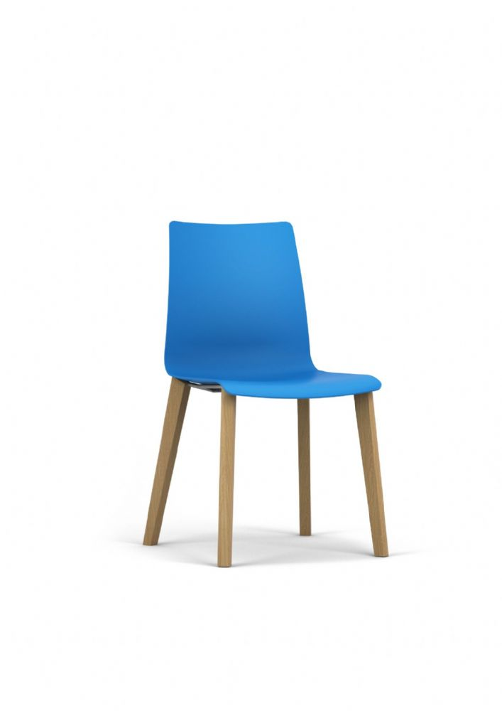 Pledge Fjord Wooden Four Leg Chair With One Piece Shell